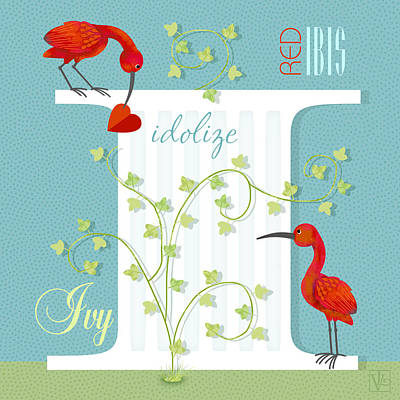 Ibis Digital Art - I Is For Ibis And Ivy by Valerie Drake Lesiak