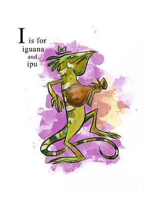 Iguana Painting - I Is For Iguana by Sean Hagan