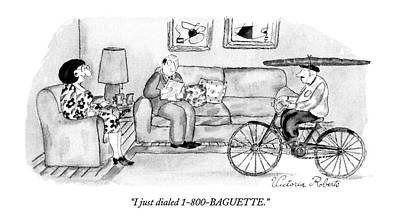 Bicycle Drawing - I Just Dialed 1-800-baguette by Victoria Roberts