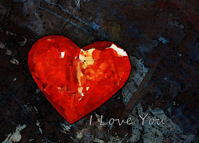 I Just Love You - Red Heart Romantic Art Art Print by Sharon Cummings