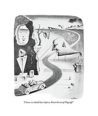 Surrealist Drawing - I Knew We Should Have Kept On Route 66 by Sam Cobean