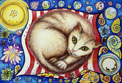 Marble Eyes Drawing - I Like Cats by Ida  Novotna