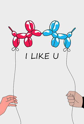 Whimsical Digital Art - I Like You 2 by Mark Ashkenazi