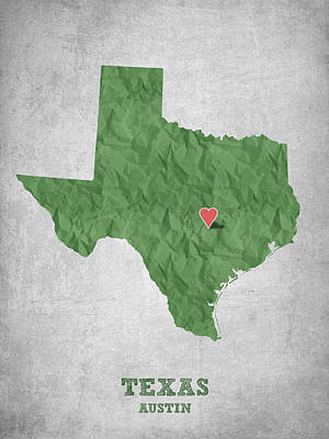 Geography Digital Art - I Love Austin Texas - Green by Aged Pixel