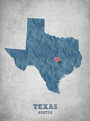 World Map Poster Digital Art - I Love Austin Texas - Blue by Aged Pixel