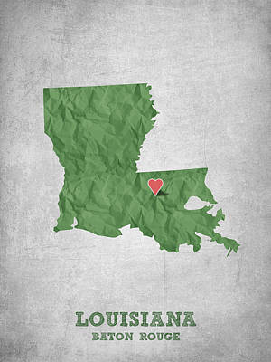 I Love Baton Rouge Louisiana - Green Print by Aged Pixel