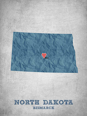 Geography Drawing - I Love Bismarck North Dakota - Blue by Aged Pixel