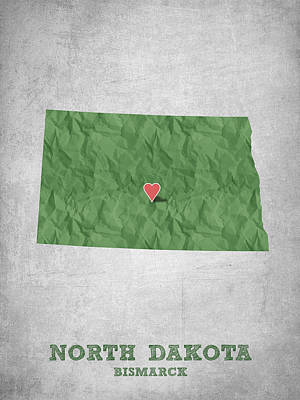 North Dakota Wall Art - Drawing - I Love Bismarck North Dakota - Green by Aged Pixel