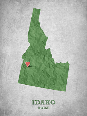Geography Digital Art - I Love Boise Idaho- Green by Aged Pixel