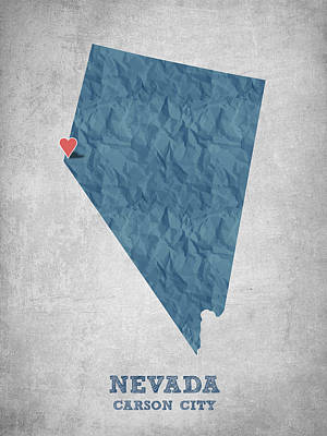 Nevada Map Digital Art - I Love Carson City Nevada - Blue by Aged Pixel