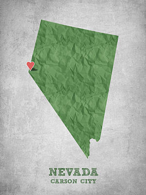 Nevada Map Digital Art - I Love Carson City Nevada - Green by Aged Pixel