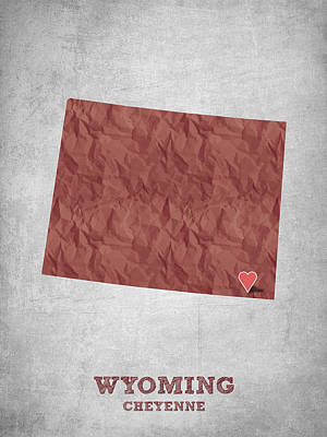 I Love Cheyenne Wyoming - Red Art Print by Aged Pixel