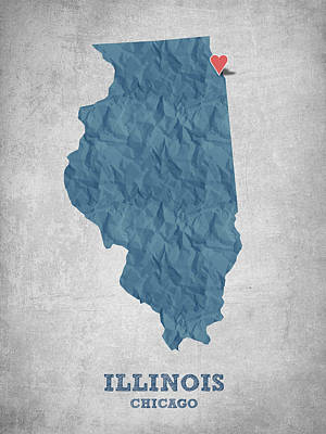 World Map Poster Digital Art - I Love Chicago Illinois - Blue by Aged Pixel