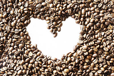 I Love Coffee Beans Art Print by Georgia Fowler