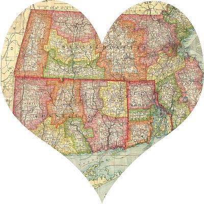 I Love Conneticut Rhode Island And Massachusetts Heart Map Art Print by Georgia Fowler