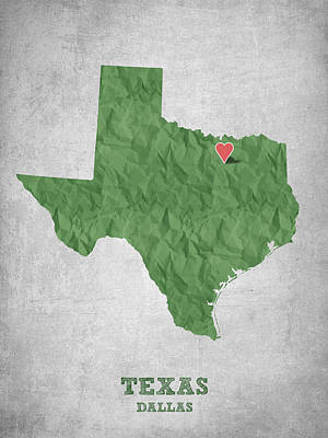 World Map Poster Digital Art - I Love Dallas Texas - Green by Aged Pixel