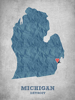 Geography Drawing - I Love Detroit Michigan - Blue by Aged Pixel