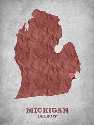 World Map Poster Digital Art - I Love Detroit Michigan - Red by Aged Pixel