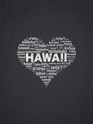 Usa United States Mixed Media - I Love Hawaii by Aged Pixel