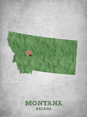 State Of Montana Drawing - I Love Helena Montana - Green by Aged Pixel