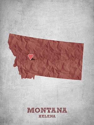 State Of Montana Drawing - I Love Helena Montana - Red by Aged Pixel