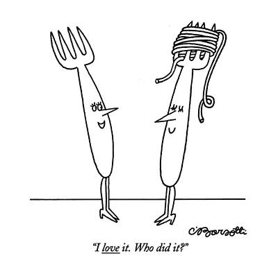 Woman Drawing - I Love It. Who Did It? by Charles Barsotti