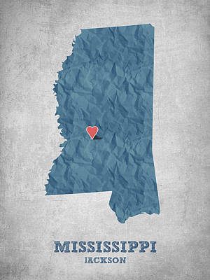 Mississippi Map Drawing - I Love Jackson Mississippi - Blue by Aged Pixel