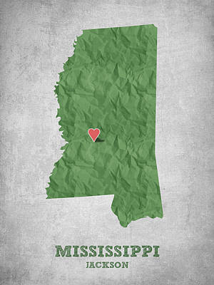 Mississippi Map Drawing - I Love Jackson Mississippi - Green by Aged Pixel
