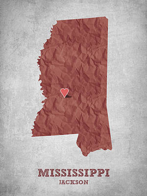 Mississippi Map Drawing - I Love Jackson Mississippi - Red by Aged Pixel