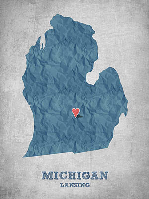 Geography Digital Art - I Love Lansing Michigan - Blue by Aged Pixel
