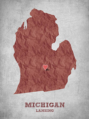 Geography Digital Art - I Love Lansing Michigan - Red by Aged Pixel