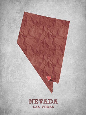 Nevada Map Digital Art - I Love Las Vegas Nevada - Red by Aged Pixel