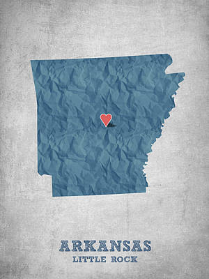 I Love Little Rock Arkansas - Blue Print by Aged Pixel