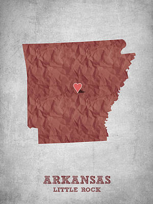 I Love Little Rock Arkansas - Red Print by Aged Pixel