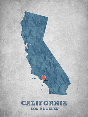 I Love Los Angeles California - Blue Print by Aged Pixel