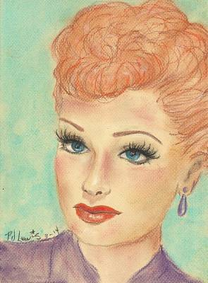 Female Face Drawing - I Love Lucy by P J Lewis