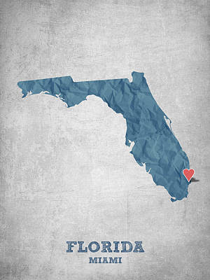 Geography Digital Art - I Love Miami Florida - Blue by Aged Pixel