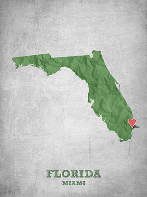 Florida State Digital Art - I Love Miami Florida - Green by Aged Pixel