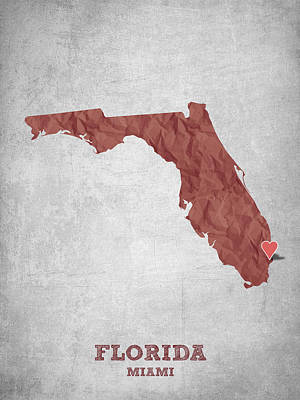 Florida State Digital Art - I Love Miami Florida - Red by Aged Pixel