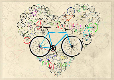 Cycle Digital Art - I Love My Bike by Andy Scullion