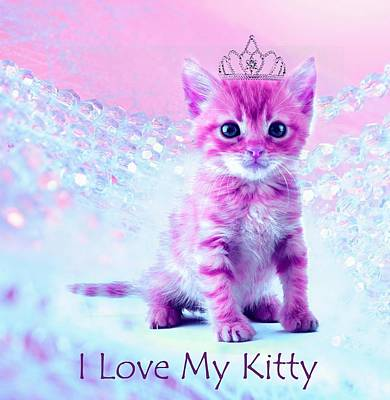 Cat Digital Art - I Love My Kitty by Lilia D