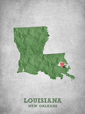 World Map Poster Digital Art - I Love New Orleans Louisiana - Green by Aged Pixel