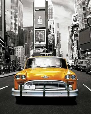 Nyc Mixed Media - I Love Nyc - New York Taxi  by Krystal M