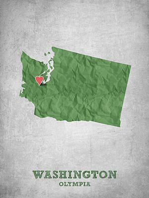 World Map Poster Digital Art - I Love Olympia Washington- Green by Aged Pixel