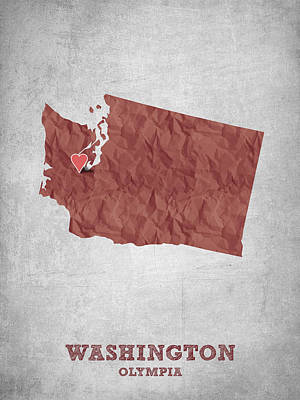 World Map Poster Digital Art - I Love Olympia Washington- Red by Aged Pixel