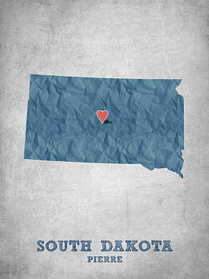 State Of South Dakota Drawing - I Love Pierre South Dakota - Blue by Aged Pixel