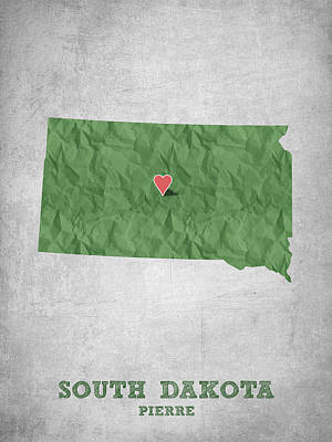 State Of South Dakota Drawing - I Love Pierre South Dakota - Green by Aged Pixel