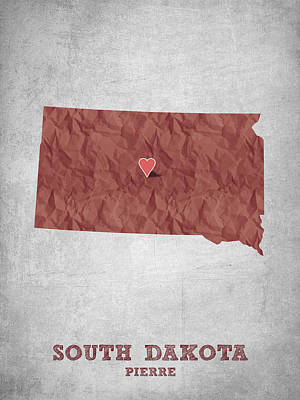 State Of South Dakota Drawing - I Love Pierre South Dakota - Red by Aged Pixel