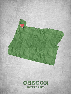 Oregon State Drawing - I Love Portland Oregon- Green by Aged Pixel
