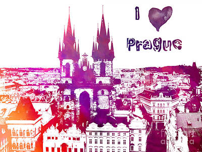 Prague Digital Art Digital Art - I Love Prague by Justyna JBJart